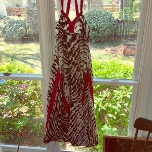 Black and red patterned dress
